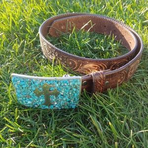 Nocona Leather Belt and Cross Turquoise Buckle